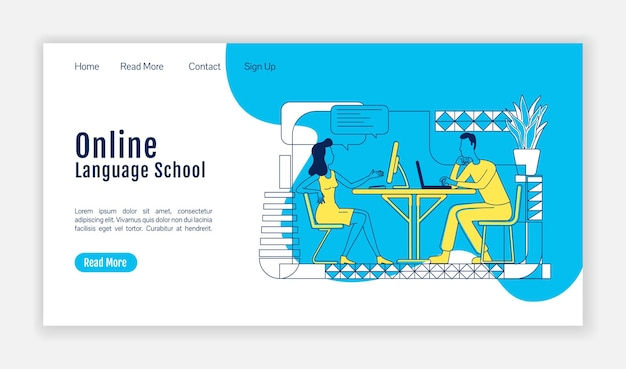 Szablon wektora płaskiej sylwetki szkoły językowej online. układ strony domowej klas zdalnych. jednostronicowy interfejs do lekcji odległych z postaciami z kreskówek. baner internetowy, strona internetowa