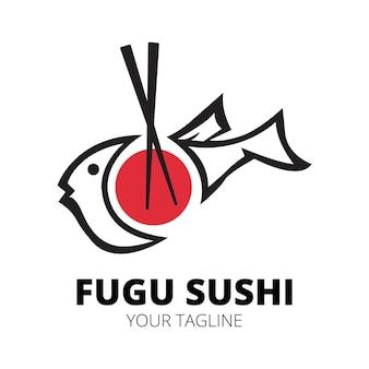 Szablon wektora projektu logo fugu sushi