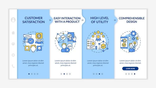 Szablon wektora wprowadzającego do oceny użyteczności. responsywna strona mobilna z ikonami. przewodnik po stronie internetowej 4 ekrany kroków. łatwa interakcja z koncepcją kolorów produktu z liniowymi ilustracjami