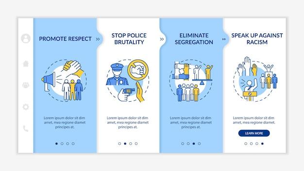 Szablon wektora wprowadzającego do walki z rasizmem. responsywna strona mobilna z ikonami. przewodnik po stronie internetowej 4 ekrany kroków. zatrzymaj koncepcję kolorów brutalności policji z liniowymi ilustracjami