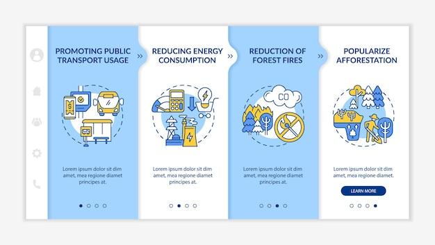 Szablon wektora wprowadzającego inicjatyw na rzecz zrównoważonego rozwoju. responsywna strona mobilna z ikonami. przewodnik po stronie internetowej 4 ekrany kroków. koncepcja kolorystyczna zmniejszająca zużycie energii za pomocą liniowych ilustracji