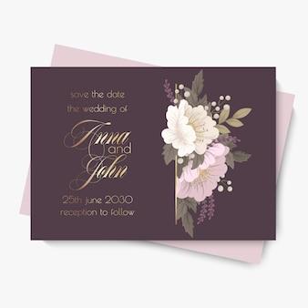 Szablon wesele kwiatowy - fioletowy karta kwiatowy