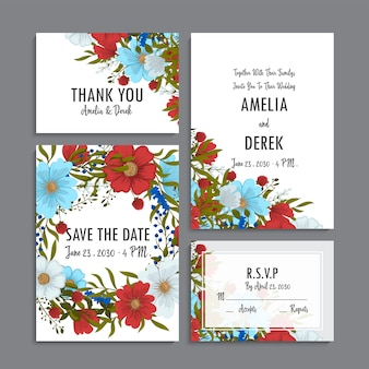 Szablon wesele kwiatowy - jasnoniebieskie, czerwone i białe karty kwiatowe
