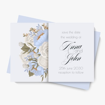 Szablon wesele kwiatowy - jasnoniebieskie kwiaty