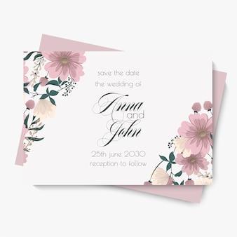Szablon wesele kwiatowy - różowa karta kwiatowy