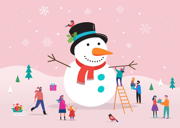Szablon wesołych świąt bożego narodzenia, tło, baner z wielkim bałwanem i małymi ludźmi, młodzi mężczyźni i kobiety, rodziny bawiące się na śniegu