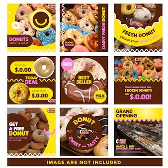Szablon wiadomości social media donut