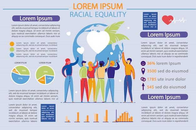 Szablon wielu etnicznych ludzi w równości rasowej infographic