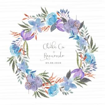 Szablon wieniec akwarela niebieski i fioletowy kwiatowy