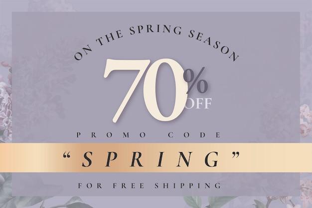 Szablon wiosennej wyprzedaży z 70% rabatem na kod promocyjny