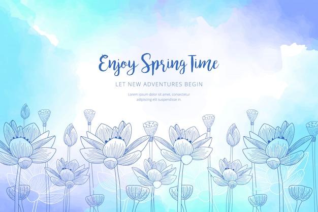 Szablon wiosna akwarela
