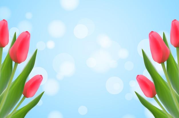 Szablon wiosna z tulipanów na niewyraźne tło bokeh