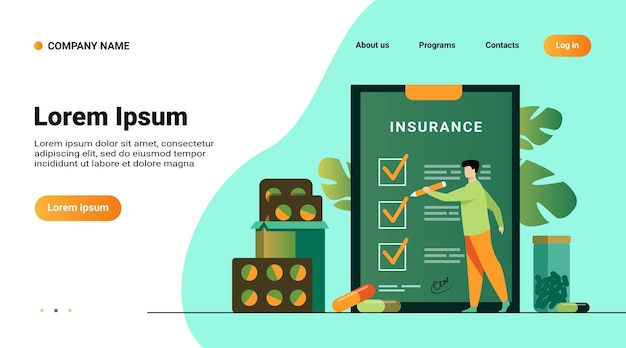 Szablon witryny internetowej, strona docelowa z ilustracją umowy ubezpieczenia zdrowotnego. mężczyzna studiuje listę ubezpieczeń wśród leków i pigułek szpitalnych