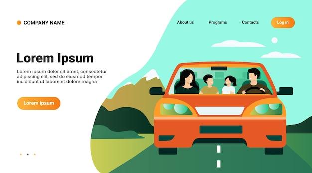 Szablon witryny sieci web, strona docelowa z ilustracją szczęśliwej rodziny podróżującej w samochodzie na białym tle ilustracji wektorowych płaski