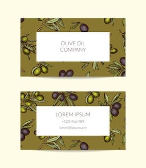 Szablon wizytówki dla firmy naftowej z ręcznie rysowane gałązki oliwne