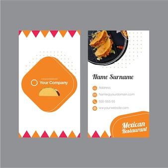 Szablon wizytówki dla meksykańskiej restauracji