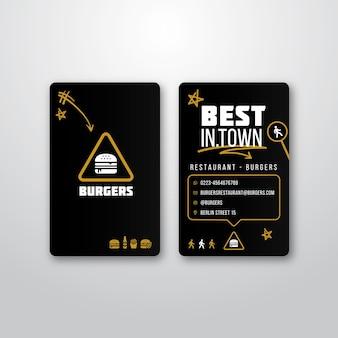 Szablon wizytówki dla restauracji burger