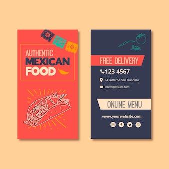 Szablon wizytówki dla restauracji kuchni meksykańskiej