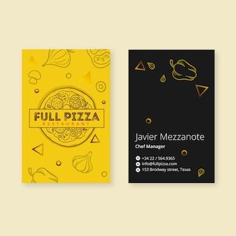 Szablon wizytówki dla restauracji pizzy