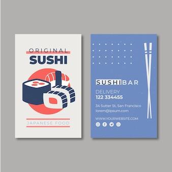 Szablon Wizytówki Dla Restauracji Sushi Darmowych Wektorów