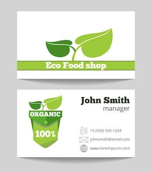 Szablon wizytówki ekologiczne żywności ekologicznej