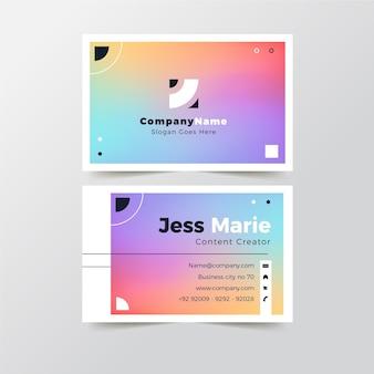 Szablon wizytówki kolorowe gradientu
