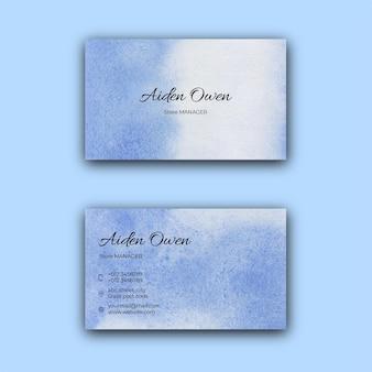 Szablon wizytówki korporacyjnej niebieski tekstury akwarela