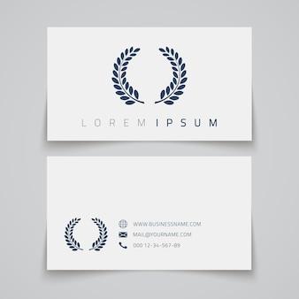 Szablon wizytówki. logo koncepcji laurowej.