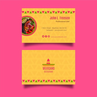 Szablon wizytówki meksykańskie jedzenie