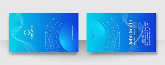 Szablon wizytówki niebieski. koncepcja projektowania wizytówek technologii. wizytówka do użytku służbowego i osobistego. wektor ilustracja projektowania technologii tła