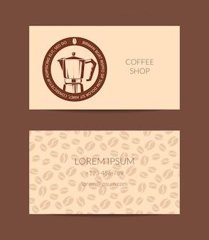 Szablon wizytówki sklep z kawą lub firmy na białym tle