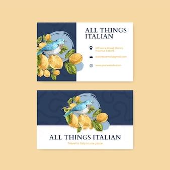 Szablon wizytówki w stylu włoskim w stylu akwareli