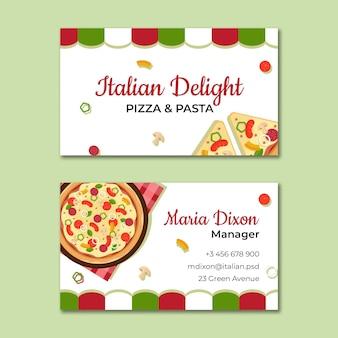 Szablon wizytówki włoskiej żywności