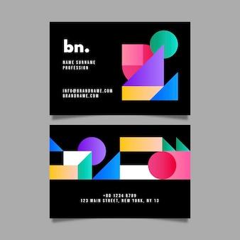 Szablon wizytówki z abstrakcyjnymi kształtami gradientu