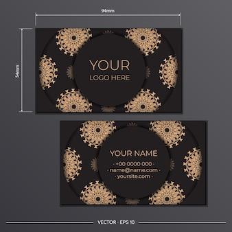 Szablon wizytówki z luksusowym ornamentem. szablon do druku wizytówek czarny z greckimi wzorami.