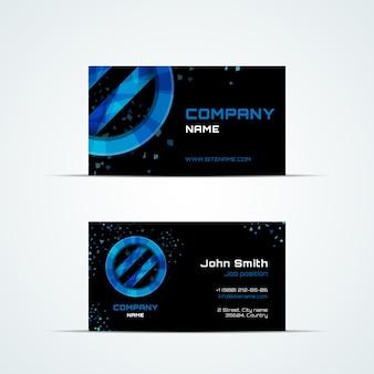 Szablon wizytówki z niebieskim znakiem. wizyta i numer telefonu, adres firmy, stanowisko pracy, ilustracja wektorowa