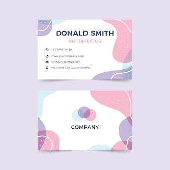 Szablon wizytówki z pastelowymi kolorowymi plamami w stylu abstrakcyjnym
