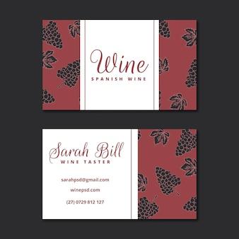 Szablon wizytówki z wzorem wina
