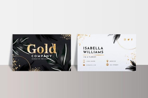 Szablon wizytówki złotą folią