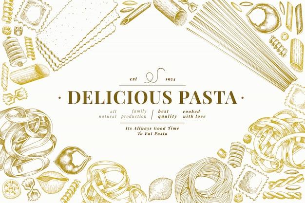 Szablon włoskiego makaronu. ręcznie rysowane ilustracja jedzenie. grawerowany styl.