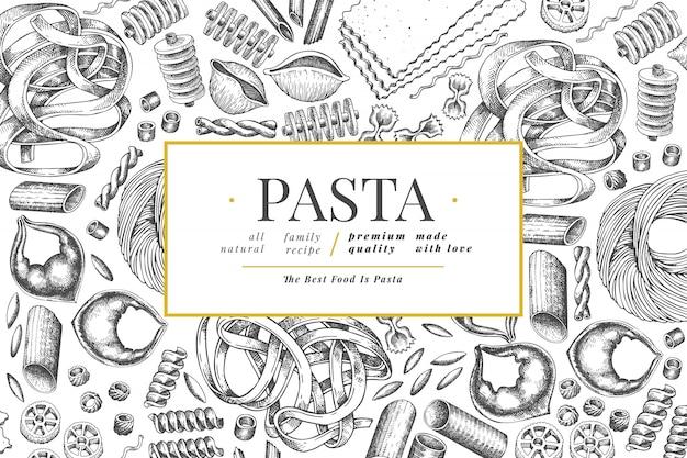 Szablon włoskiego makaronu. ręcznie rysowane ilustracja jedzenie.