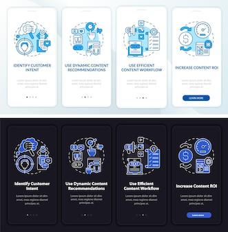 Szablon wprowadzający do inteligentnych wskazówek dotyczących treści. responsywna strona mobilna z ikonami