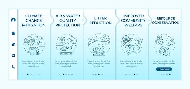 Szablon wprowadzający korzyści z redukcji odpadów ulegających biodegradacji. łagodzenie zmiany klimatu. zmniejszenie ilości śmieci. responsywna witryna mobilna z ikonami. ekrany krok po kroku strony internetowej. koncepcja kolorów rgb