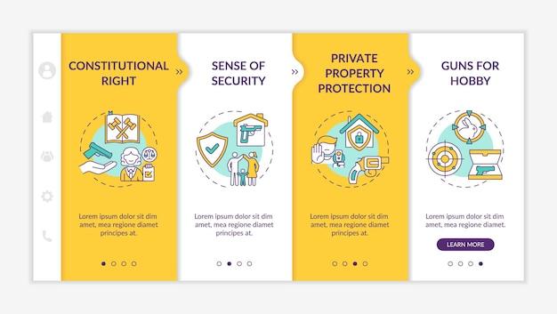 Szablon wprowadzający przepisy dotyczące broni. prawa konstytucyjne. ochrona własności prywatnej. responsywna witryna mobilna z ikonami. ekrany krok po kroku strony internetowej. koncepcja kolorów rgb