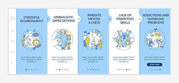 Szablon wprowadzający rodzicielskiej przemocy emocjonalnej. stresujące środowisko. nierealistyczne oczekiwanie. responsywna witryna mobilna z ikonami. ekrany krok po kroku strony internetowej. koncepcja kolorów rgb