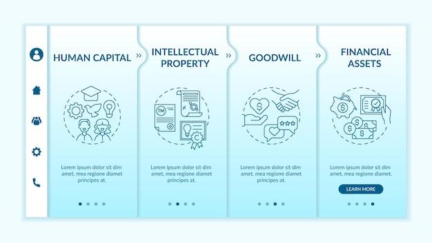 Szablon wprowadzający typy inwestycji niematerialnych. kapitał ludzki. życzliwość. aktywa finansowe. responsywna witryna mobilna z ikonami. ekrany krok po kroku strony internetowej. koncepcja kolorów rgb