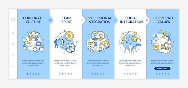 Szablon wprowadzenia umiejętności adaptacyjnych. duch zespołowy i integracja. popraw poziom firmy. responsywna witryna mobilna z ikonami. ekrany krok po kroku przeglądania strony internetowej. koncepcja kolorów rgb