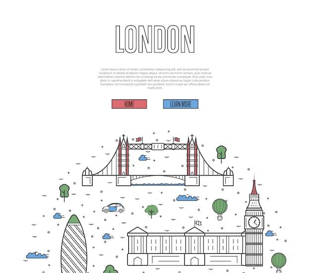 Szablon wycieczki po londynie w stylu liniowym