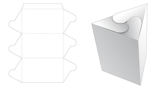 Szablon wycinany w kształcie trójkątnego pudełka z zamkniętym punktem wirowania