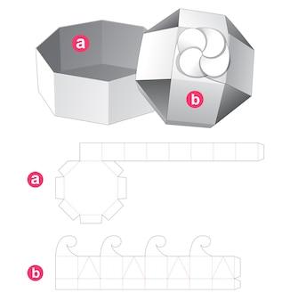 Szablon wycinany z ośmiokątnego pudełka i wieczka kwiatowego